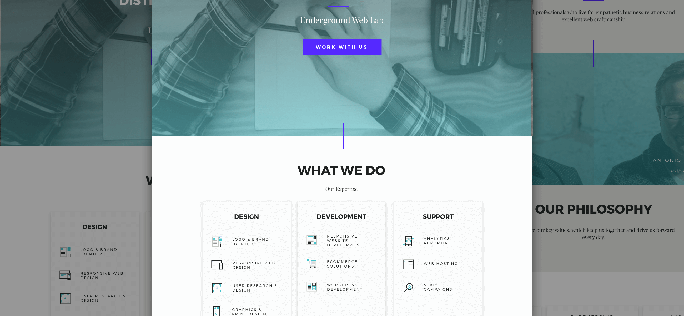 Underground Web Lab Site Design